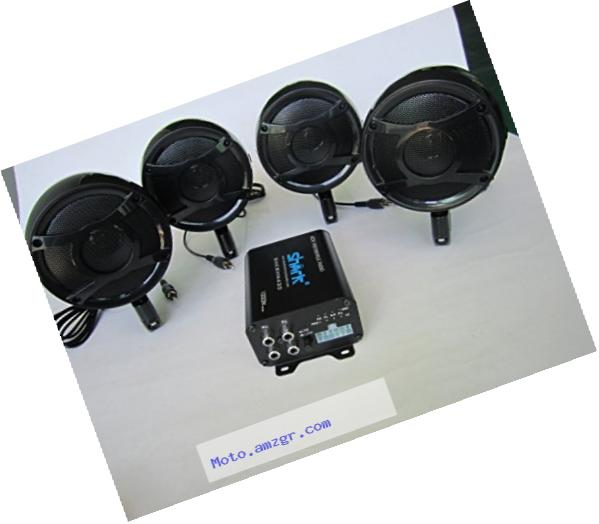 4ch 1000 Watt Motorcycle Audio Systems Stereo Four Quality Speakers Black (handlebar clamps included)