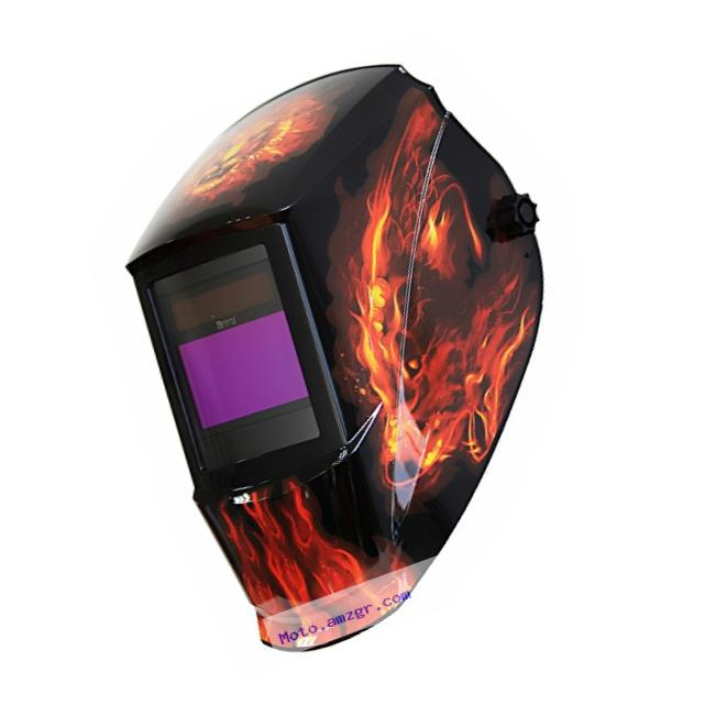 Antra AH7-360-7311   Solar Power Auto Darkening Welding Helmet with AntFi X60-3 Wide Shade Range 4/5-9/9-13 with Grinding Feature Extra lens covers Good for TIG MMA MIG Plasma